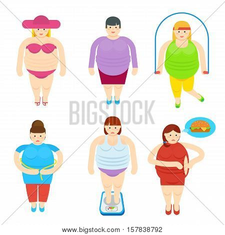 Funny fat woman cartoon characters. Fatty female in swimsuit, jumping rope, measuring waist, on scales vector illustrations isolated on white background. Unhealthy lifestyle and overweight concept
