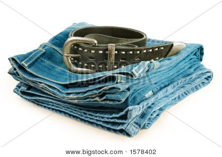 Vintage Jeans And Leather Belt