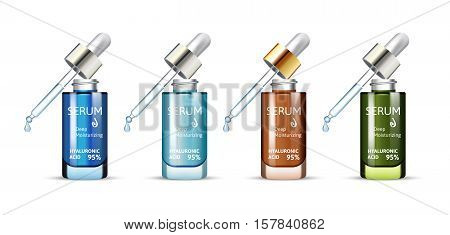 Hyaluronic Acid Moisturizing Serum in different color of packages. Vector illustration of realistic serum bottles isolated on white background.