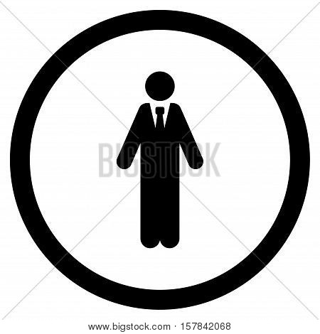 Clerk vector rounded icon. Image style is a flat icon symbol inside a circle, black color, white background.