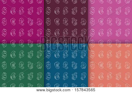 Six seamless patterns with isometric line icons currency symbols of the world. Vector illustration.