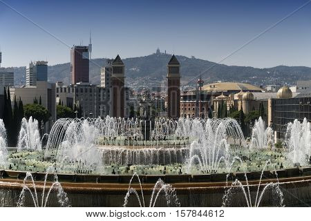 Barcelona (Catalunya Spain): the hill of Montjuich and the Museum of Catalan Art. View of Plaza de Espana