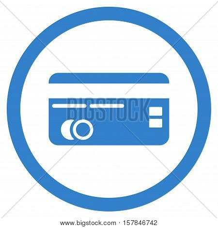 Credit Card vector rounded icon. Image style is a flat icon symbol inside a circle, cobalt color, white background.
