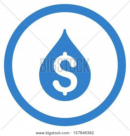Money Drop vector rounded icon. Image style is a flat icon symbol inside a circle, cobalt color, white background.