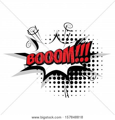Lettering boom. Comic text sound effects pop art style vector. Sound bubble speech phrase comic text cartoon expression sounds illustration. Comic text background template