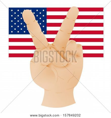 Hand Showing Peace Sign And Flag Of United States
