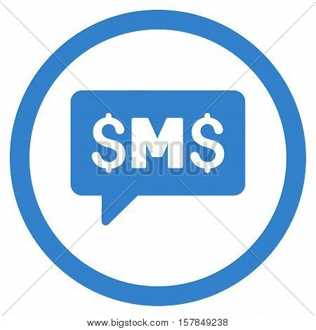 SMS Message vector rounded icon. Image style is a flat icon symbol inside a circle, cobalt color, white background.