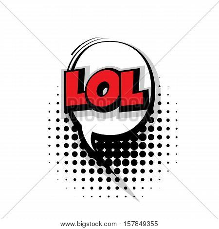 Lettering lol. Comic text sound effects pop art style vector. Sound bubble speech phrase comic text cartoon expression sounds illustration. Comic text background template