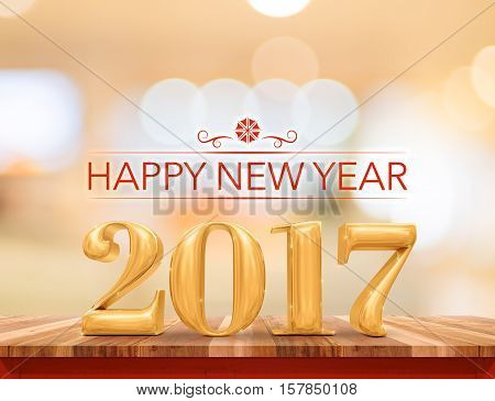 Happy New Year 2017 (3D Rendering) New Year On Wood Plank Table Top With Blur Abstract Bokeh Backgro