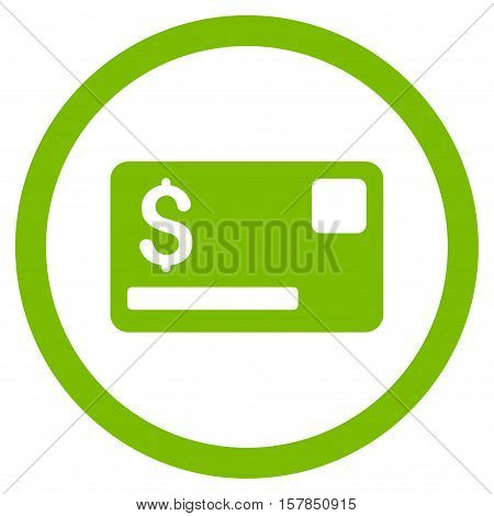 Credit Card vector rounded icon. Image style is a flat icon symbol inside a circle, eco green color, white background.