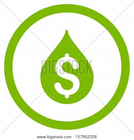 Money Drop vector rounded icon. Image style is a flat icon symbol inside a circle, eco green color, white background.