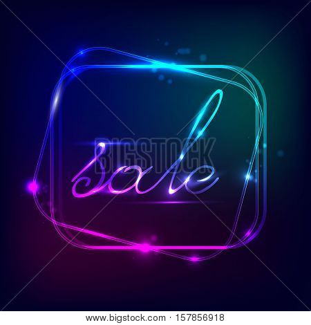 Neon square. Neon blue light. The vector of the electric frame. Vintage frame. Retro neon lamps. With text discount. Glowing neon background. Abstract electric background.