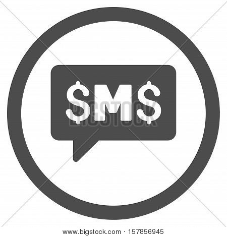 SMS Message vector rounded icon. Image style is a flat icon symbol inside a circle, gray color, white background.