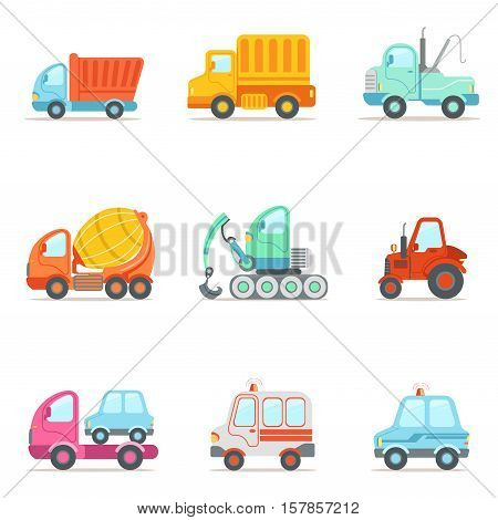 Public Service, Construction And Road Working Cars Set Of Colorful Toy Cartoon Icons. Vector Illustrations In Bright Color With Vehicles Used For Building Work And Other Uses.
