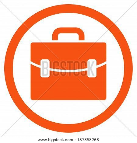 Case vector rounded icon. Image style is a flat icon symbol inside a circle, orange color, white background.
