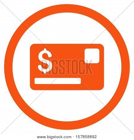 Credit Card vector rounded icon. Image style is a flat icon symbol inside a circle, orange color, white background.