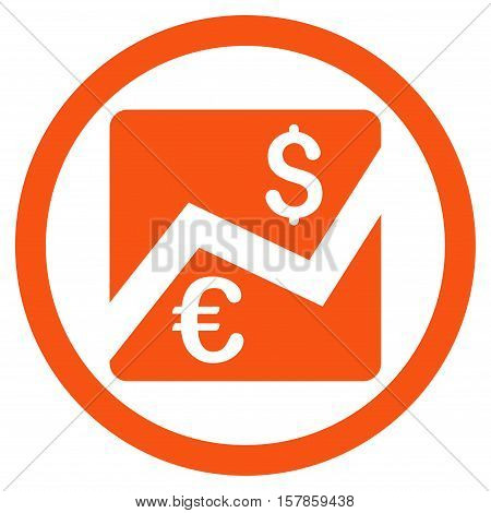 Euro Dollar Chart vector rounded icon. Image style is a flat icon symbol inside a circle, orange color, white background.