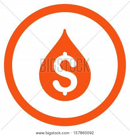 Money Drop vector rounded icon. Image style is a flat icon symbol inside a circle, orange color, white background.