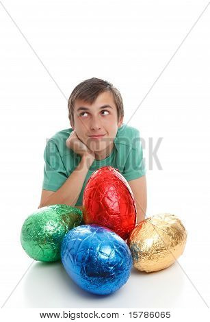 Boy With Large Easter Eggs