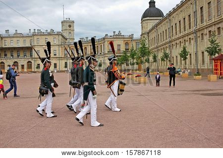 Gatchina, Russia - 9 July 2016: Reconstruction of the Gatchina divorce guard the Lifeguards Jaeger Regiment near Great Gatchina Palace.  Lifeguard Jaeger Regiment was a Jaeger regiment of the Russian Imperial Guard from 1796 to 1917
