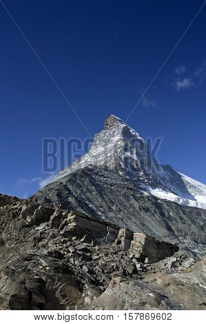 view of the hornli ridge of the matterhorn