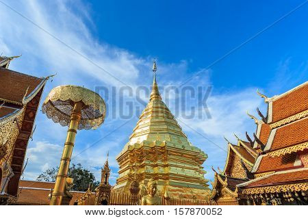 Doi Suthep Temple, Landscape Of Beautiful Temple In Chiang Mai, Thailand