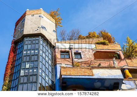 Vienna, Austria - October 14, 2016: Facade Of Huntdertwarsser House In Vienna. The Hundertwasser Hou
