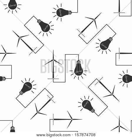 Wind mill turbine generating power energy and glowing light bulb. Natural renewable energy production using wind mills simple icon seamless pattern on white background. Vector Illustration