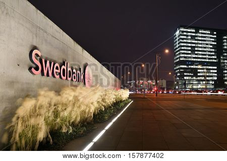 VILNIUS NOVEMBER 22: Detail of the Head Office of Swedbank on November 22 2016 in Vilnius Lithuania. Swedbank is the leading bank in Sweden Estonia Latvia and Lithuania.