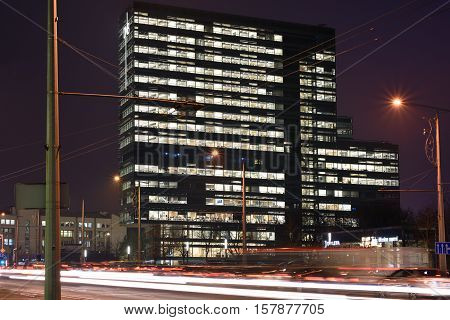 VILNIUS NOVEMBER 22: Modern Business Buildings on November 22 2016 in Vilnius Lithuania. Vilnius is the capital of Lithuania and its largest city.