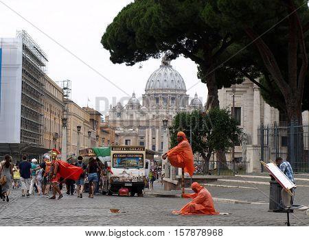 ROME, ITALY - JUNE 12, 2015: View of Basilica of Saint Peter and Street Via della Conciliazione Rome Italy
