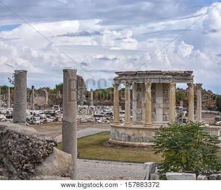The Temple of Tyche situated in the Turkish town of Side.