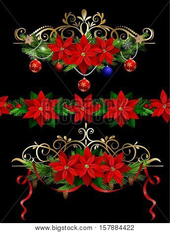Christmas set of decorations with evergreen treess holly and pinecone and poinsettia and ribbon isolated and matching seamless border