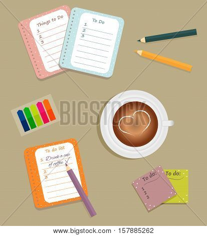 Stationery: The sheets of the planner in a cute polka dots. To Do Lists with little hearts. Multi-colored stiсkers. Cup with coffee on saucer. Vector illustration.