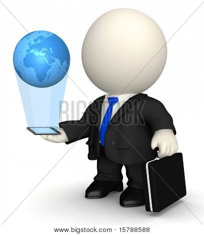 3D business man with world in his hands through his cell phone