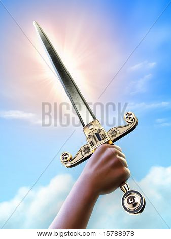 Male hand holding a short sword over a bright sky background, clipping path allows to separate hand and sword from background. Digital illustration.
