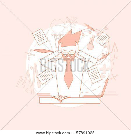 Business Man Hold Head Documents Paperwork Problem Concept Vector Illustration
