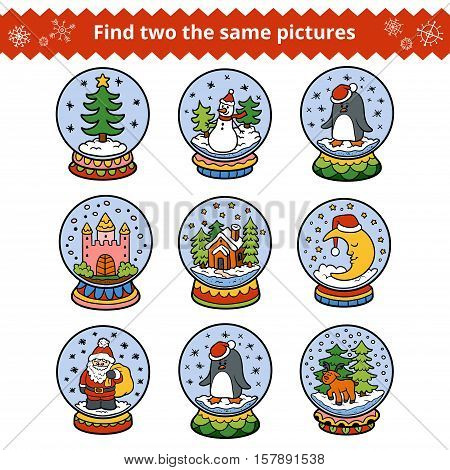 Find two the same pictures, education game for children. Christmas balls
