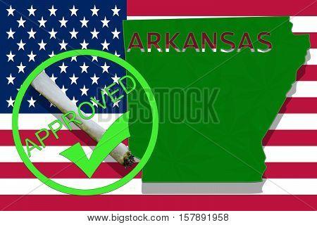 Arkansas On Cannabis Background. Drug Policy. Legalization Of Marijuana On Usa Flag,