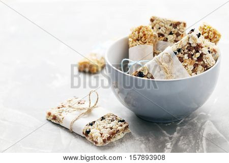 Granola Bar In Bowl On A Grey Table