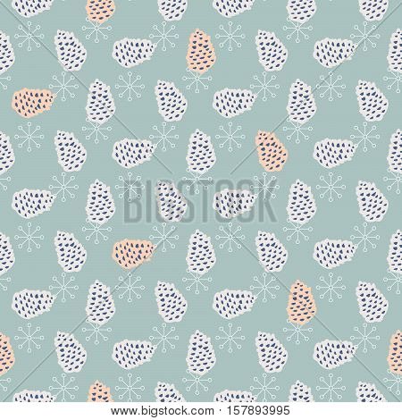 Pinecone seamless vector pattern. Blue pine scrapbook paper design. Blue background.