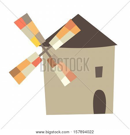 Mill vector illustration. Traditional spainish mill sign or logo. Isolated on white background cartoon style