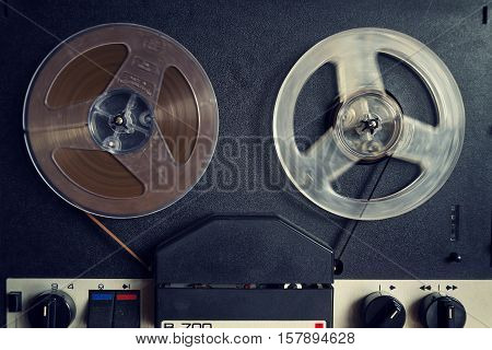 Filtered Vintage Picture Of Reel-to-reel Audio Recorder