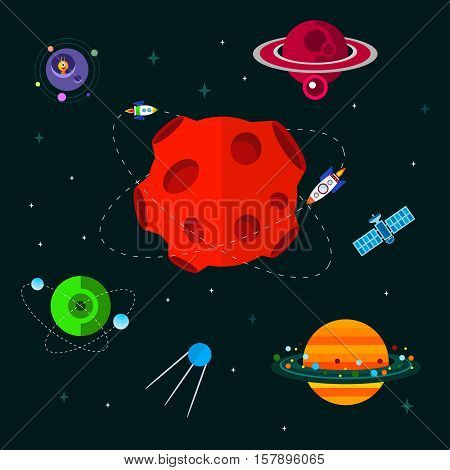 Vector flat space elements with spaceship rocket ufo and planets.