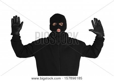 Portrait of a Scared Thief with Raised Arms