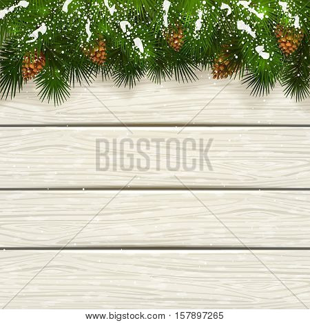 Winter theme, Christmas decorations with pinecone, decorative spruce branches with pine cones and snow on a white wooden background, illustration.
