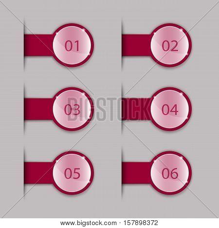 Crimson Tabs for Webpages. Set on a Light Background.