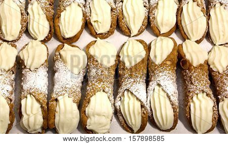 Sicilian Cannoli With Sweet Custard For Sale In Bakery