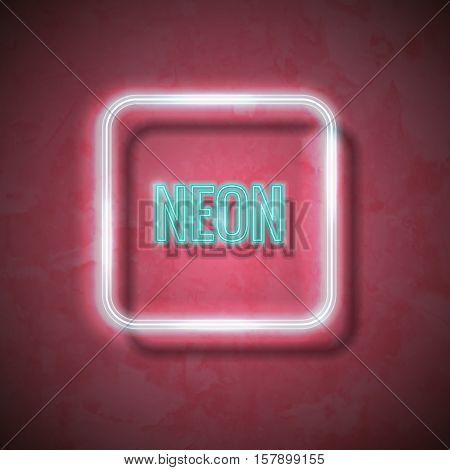 Vector neon frame with type  Neon. Neon tubes figure on textured surface. Figure on wall. Vector illustration.