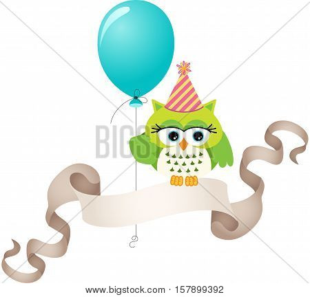 Birthday owl with balloon and ribbon banner